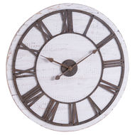 Image 1 - Rustic Wooden Wall Clock With Aged Numerals And Hands