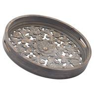 Image 1 - Set Of 2 Carved Grey Wash Louis Trays