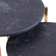 Image 2 - Set Of 2 Gold And Black Marble Tables
