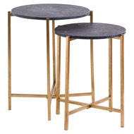 Image 1 - Set Of 2 Gold And Black Marble Tables