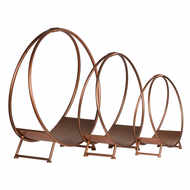 Image 2 - Set Of Three Copper Finished Round Log Display Holders