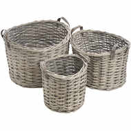 Set Of Three Round Wicker Storage Baskets