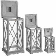 Image 3 - Set Of Three Wooden Lanterns With Traditional Cross Section
