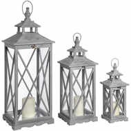 Image 1 - Set Of Three Wooden Lanterns With Traditional Cross Section