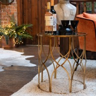 Image 3 - Set Of Two Lattice Detail Gold Side Tables