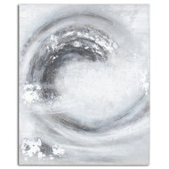 Image 1 - Sierra Silver And Grey Hand Painted Canvas