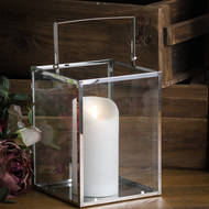 Image 3 - Silver Cube Contemporary Lantern With Wax Led Candle