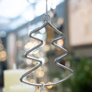 Image 2 - Silver Hanging Christmas Tree Silhouette Decoration