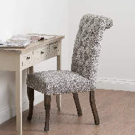 Image 7 - Silver Roll Top Dining Chair With Ring Pull