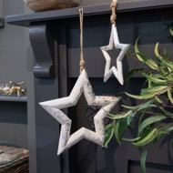 Image 4 - Silver Wooden Star Hanging Decoration