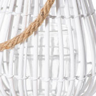 Image 2 - Small Domed White Rattan Lantern With Rope Detail