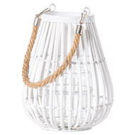 Image 1 - Small Domed White Rattan Lantern With Rope Detail