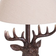 Image 2 - Stag Head Table Lamp With Linen Shade