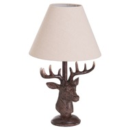 Image 1 - Stag Head Table Lamp With Linen Shade