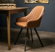 Image 4 - Stockholme Chequered Tan Dining Chair