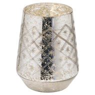 Image 1 - The Noel Collection Silver Foil Effect Medium Candle Holder