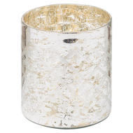Image 1 - The Noel Collection Silver Foil Effect Pillar Candle Holder