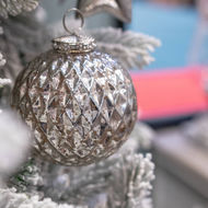 Image 3 - The Noel Collection Silver Large Honeycomb Bauble
