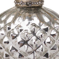 Image 2 - The Noel Collection Silver Textured Large Hanging Bauble