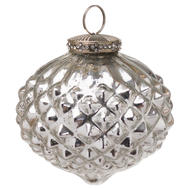 Image 1 - The Noel Collection Silver Textured Large Hanging Bauble
