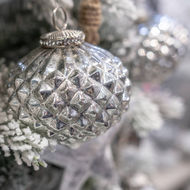 Image 3 - The Noel Collection Silver Textured Small Hanging Bauble