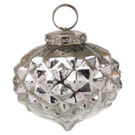 Image 1 - The Noel Collection Silver Textured Small Hanging Bauble