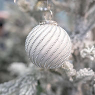 Image 3 - The Noel Collection White Jewel Swirl Large Bauble