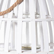 Image 2 - White Domed Wicker Lantern With Rope Detail