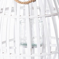 Image 2 - White Floor Standing Domed Wicker Lantern With Rope Detail
