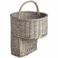 Wicker Stair Basket With Handle
