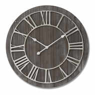 Image 1 - Wooden Wall Clock With Contrasting Nickel Detail